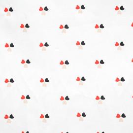 achat tissu coton blanc imprimé 3 coeurs - pretty mercerie - mercerie en ligne