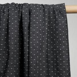 achat tissu denim léger noir à pois tissés - pretty mercerie - mercerie en ligne