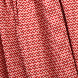 Tissu jacquard graphique rouge et beige x 10 CM