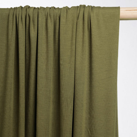 achat tissu jersey bambou vert kaki - pretty mercerie - mercerie en ligne