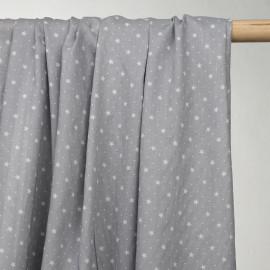 achat tissu voile de coton gris à motif étoiles - pretty mercerie - mercerie en ligne