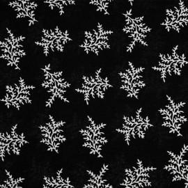 achat tissu viscose noir à motif bouquet de fleurs blanc  - pretty mercerie - mercerie en ligne