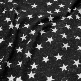 Tissu jersey gris à motif étoile x 10cm