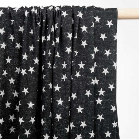 achat tissu jersey gris à motif étoile  - pretty mercerie - mercerie en ligne
