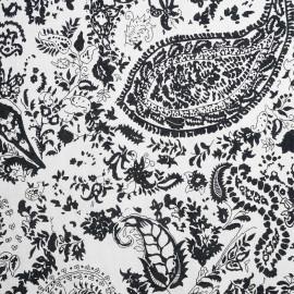 achat tissu viscose blanc à motif baroque fleuri  - pretty mercerie - mercerie en ligne