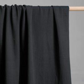 achat tissu double gaze de coton noir - pretty mercerie - mercerie en ligne
