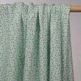 achat tissu coton fleurie vert menthe - pretty mercerie - mercerie en ligne