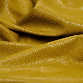 Amber gold textured faux leather fabric x 10 cm