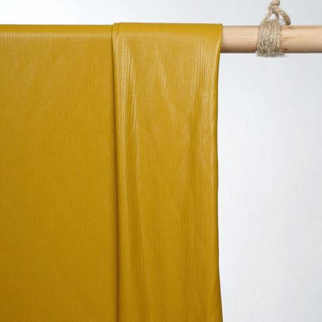 achat tissu simili cuir texturé amber gold - pretty mercerie - mercerie en ligne