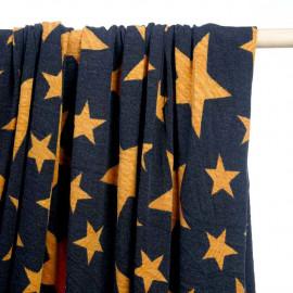 achat tissu jersey bleu à motif étoile sunflower - pretty mercerie - mercerie en ligne