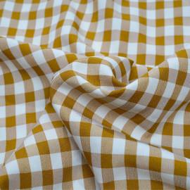 achat tissu vichy inca gold et blanc - pretty mercerie - mercerie en ligne