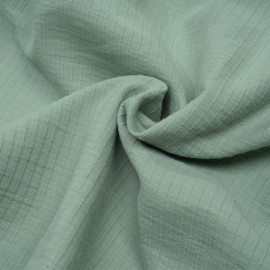 achat tissu coton vert pastel à lignes tissées - pretty mercerie - mercerie en ligne