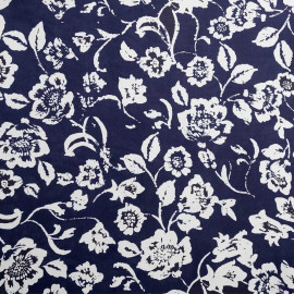 achat tissu coton imprimé fleurs blanche et bleu - pretty mercerie - mercerie en ligne