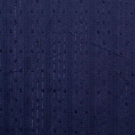 achat tissu coton plumetis bleu à rayures brodées et ajourées - pretty mercerie - mercerie en ligne