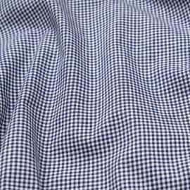Tissu coton vichy petit carreaux tissé bleu et blanc  x 10cm
