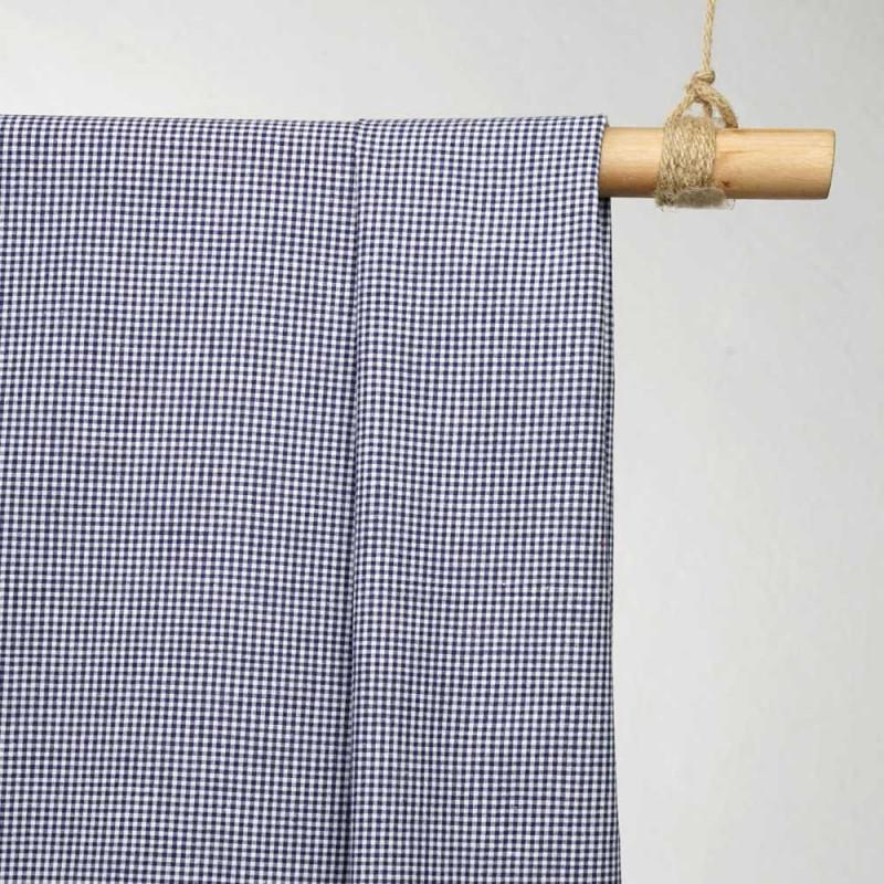 achat tissu coton vichy petit carreaux tissé bleu et blanc - pretty mercerie - mercerie en ligne