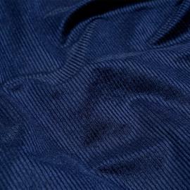 Tissu velours côtelé et satiné bleu x 10 cm