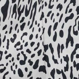 achat tissu coton sergé blanc motif tacheté gris foncé - pretty mercerie - mercerie en ligne