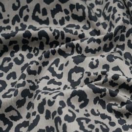 Tissu velours côtelé taupe motif tacheté noir x 10cm