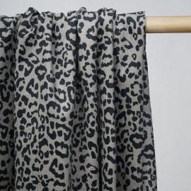 achat tissu velours côtelé taupe motif tacheté noir - pretty mercerie - mercerie en ligne