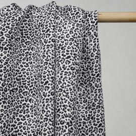achat tissu jacquard blanc motif léopard noir - pretty mercerie - mercerie en ligne