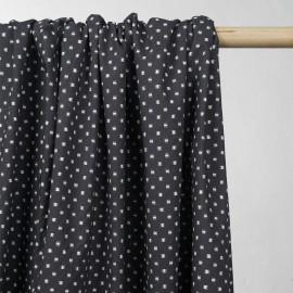 Tissu coton gris motif carré effet usé - tissus en ligne  - pretty mercerie