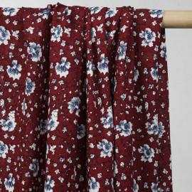 Tissu viscose rouge rio à motif fleuri - tissus en ligne - pretty mercerie