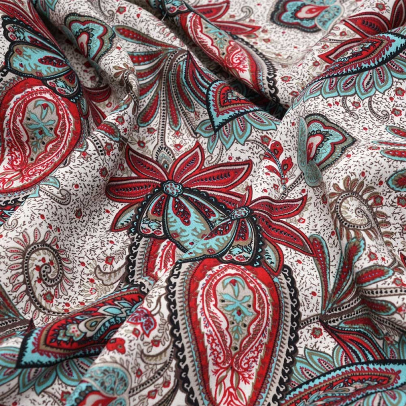 Tissu coton sable motif paisley fleuri rouge et turquoise- tissus en ligne - pretty mercerie