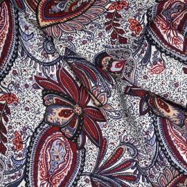 Tissu coton blanc cassé motif paisley fleuri rouge rio et saumon - tissus en ligne - pretty mercerie