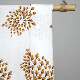 Tissu viscose effet lin à motif feuilles d'automne - tissus en ligne - pretty mercerie