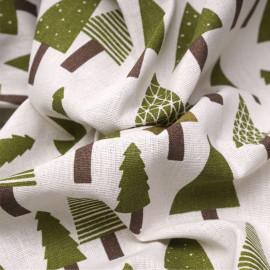 Tissu toile de coton motif sapins x 10cm