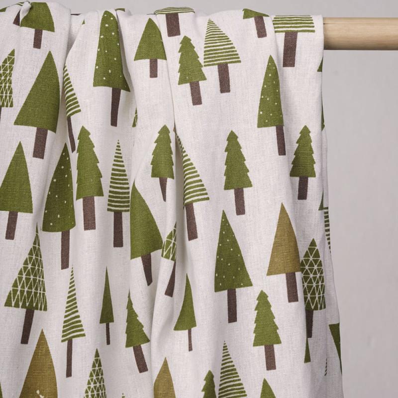 Tissu toile de coton motif sapins - tissus en ligne - pretty mercerie