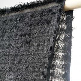 Tissu à frange noir et fils d'argent- tissus en ligne - pretty mercerie