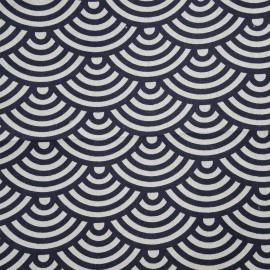 Tissu toile de coton motif japonais vagues seigaiha x 10cm
