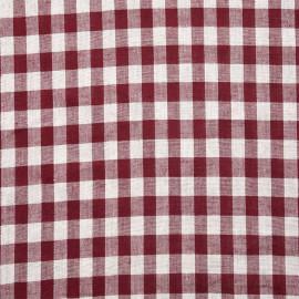 Tissu popeline viscose lin et coton motif vichy grenat - tissus en ligne - pretty mercerie