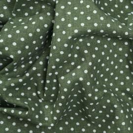 Tissu toile de coton vert cresson à pois blanc x 10cm