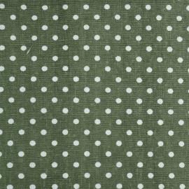 Tissu toile de coton vert cresson à pois blanc - tissus en ligne - pretty mercerie