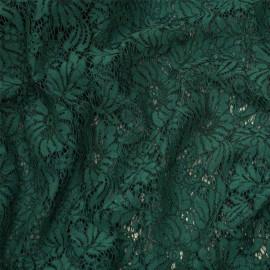 Tissu dentelle vert evergreen à motif fleurs x 10 CM