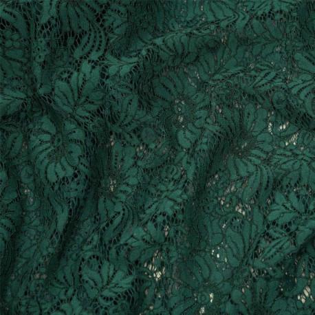 Tissu dentelle vert evergreen à motif fleurs - tissus en ligne - pretty mercerie