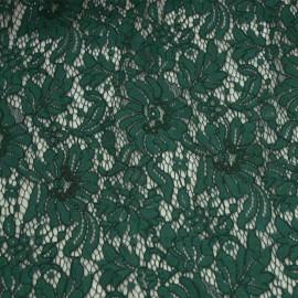 Tissu guipure vert evergreen à motif fleurs - tissus en ligne - pretty mercerie