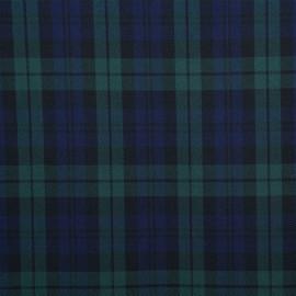Tissu sergé à motif tartan vert et bleu- tissus en ligne - pretty mercerie