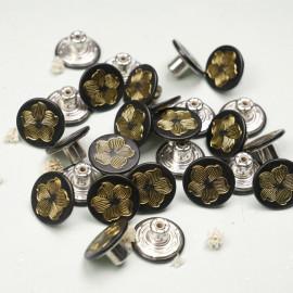 Bouton Jeans noir à motif orchidée or - mercerie en ligne - pretty mercerie