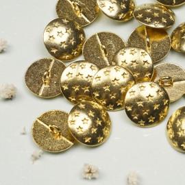 Bouton métal or motif étoiles - mercerie en ligne - pretty mercerie