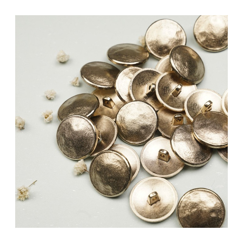 Bouton métal or effet martelé - mercerie en ligne  pretty mercerie