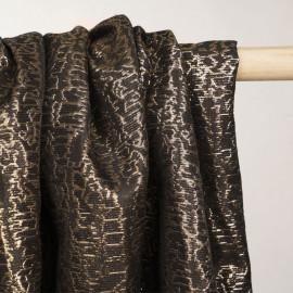 Tissu jacquard noir motif ethnique or  - tissus en ligne - pretty mercerie