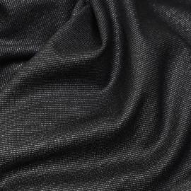 Tissu lainage léger noir et son fil lurex argent x 10cm