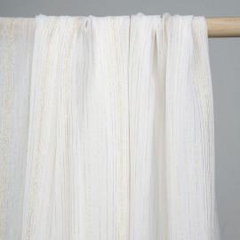 Tissu mousseline blanc à fines rayures dorées - tissus en ligne - pretty mercerie