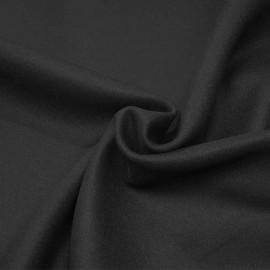 Tissu drap de laine noir profond x 10cm