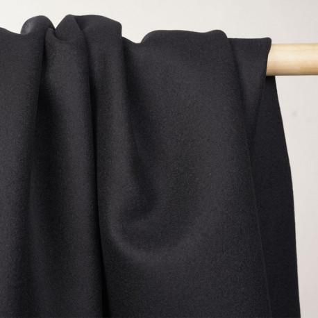 Tissu drap de laine noir profond - tissus en ligne - pretty mercerie