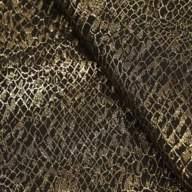 Tissu jacquard noir motif écailles dorées x 10 CM
